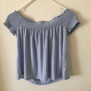 Small American Eagle Off The Shoulder Blue Top